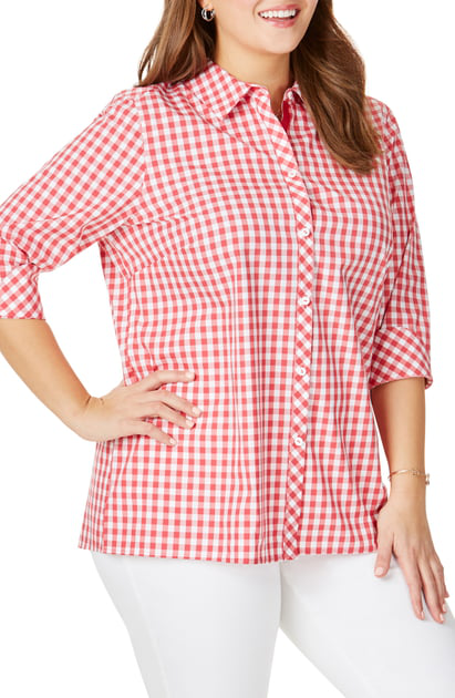 e95a2ff9998ec2 Foxcroft Morgan Gingham Cotton Blouse In Vintage Red | ModeSens