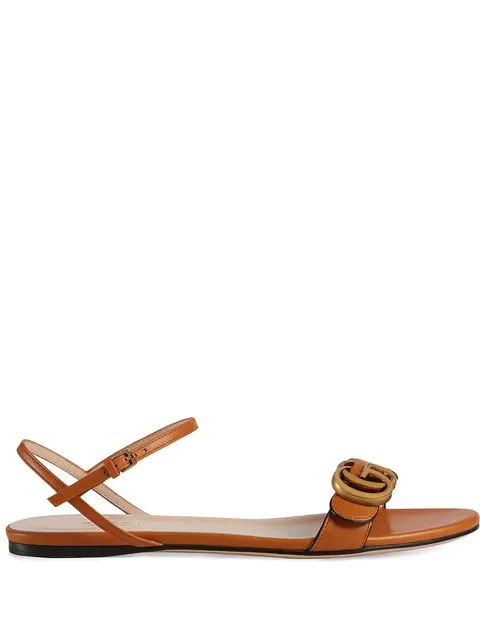Gucci Leather Sandal With Double G In Orange