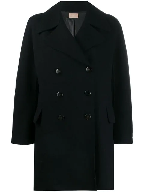 Alaïa Double Breasted Short Coat In Blue