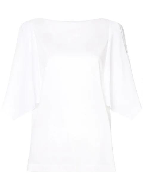 Juun.j Oversized Gathered Sleeve Blouse In White