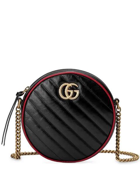 Gucci Marmont - Gg Marmont Mini Round Shoulder Bag In Black