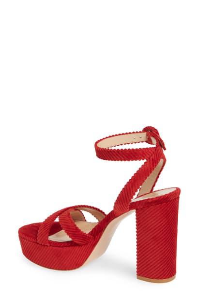 Gianvito Rossi Corduroy Block-heel Platform Sandals In Tabasco Red