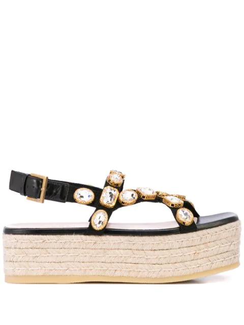 Gucci Pepita Crystal-Embellished Espadrille Sandals In Black