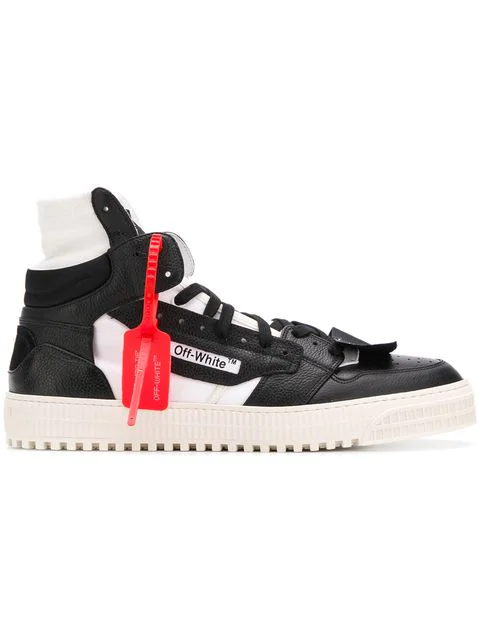 Off-White Off-Court Full-Grain Leather And Canvas High-Top Sneakers In 1000 White Black