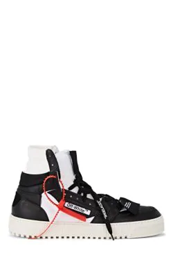 Off-White Off-Court Full-Grain Leather And Canvas High-Top Sneakers In Black