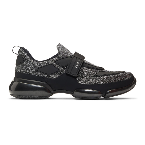 Prada Cloudbust Glitter Low-top Mesh Trainers In F0i89 Ne/ar