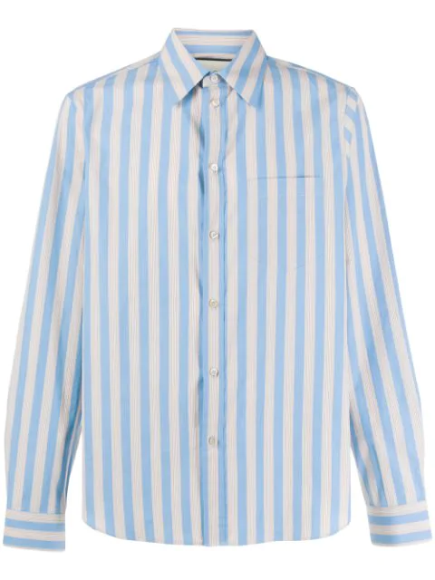 Gucci Men's Striped Cotton Sport Shirt In 4359