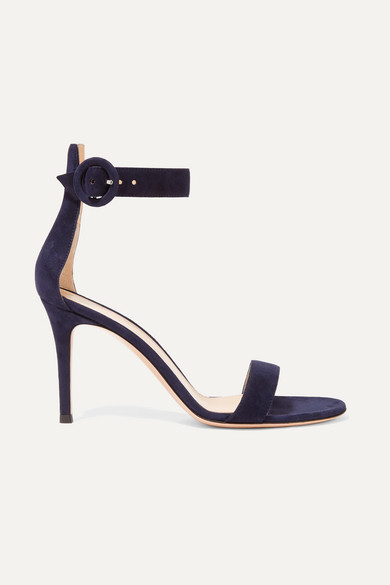 Gianvito Rossi Portofino 85 Suede Sandals In Navy