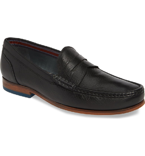 Ted Baker Men's Shornal Leather Penny Loafers In Black Leather