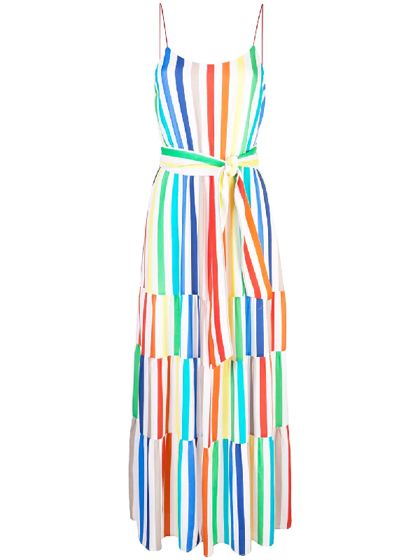 312cb9121683c Alice And Olivia Alice + Olivia Janan Tiered Rainbow-Stripe Maxi Dress In  Rainbow Stripe