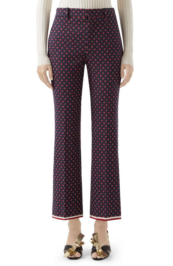 Gucci Geometric Logo Jacquard Ankle Bootcut Pants In Blue/ Red