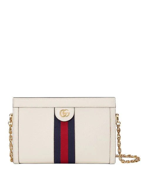 Gucci Small Ophidia Leather Shoulder Bag - White In 8454 Bianco