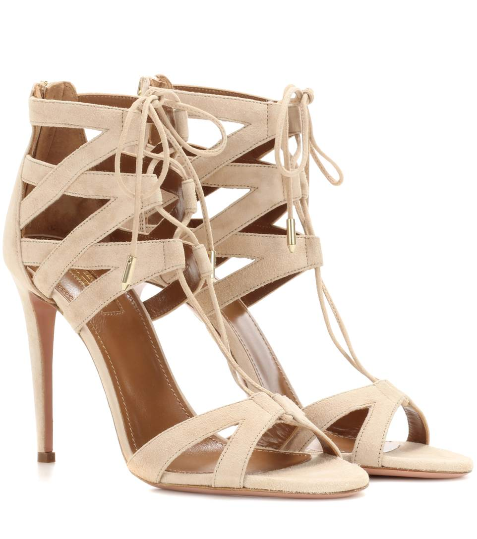 Aquazzura Beverly Hills Suede Lace-Up Sandal, Nude In Neutrals