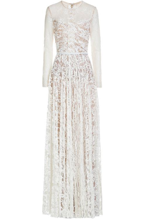 Elie Saab Floor-Length Lace Gown In White