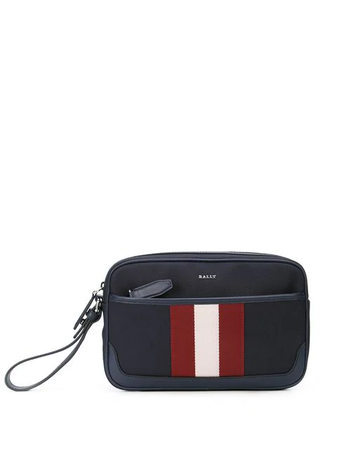 Bally Caliros Stripe Clutch Bag In Blue