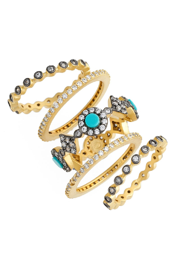 553c527868859 Color Turquoise Stacking Rings In 14K Gold-Plated Sterling Silver, Set Of 5  in Gold/ Gunmetal/ Turquoise