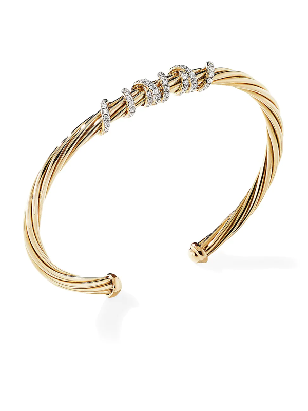 David Yurman Women's Helena Center Station Bracelet In 18k Yellow Gold With Diamonds