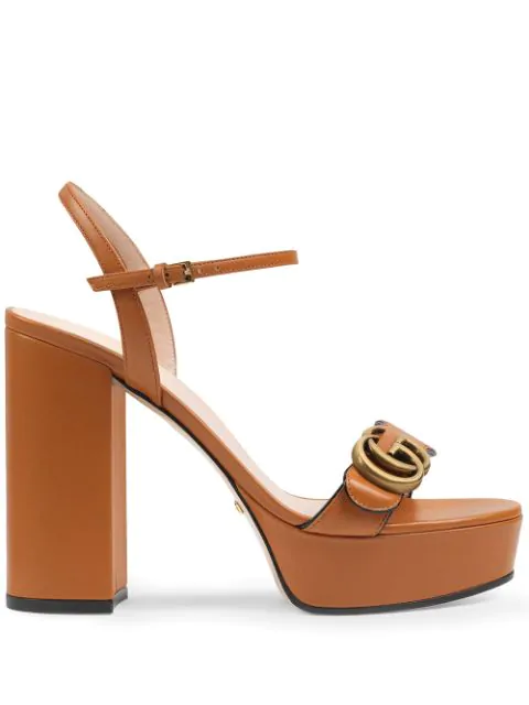 Gucci Platform Sandal With Double G In 2121 Ivory