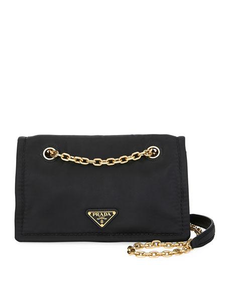 Prada Tessuto Chain Shoulder Bag In Black