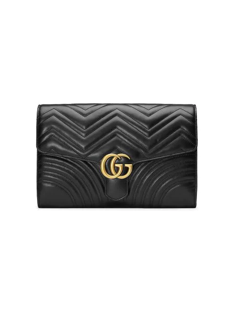 9414fb361d17 Gucci Gg Marmont Chevron Quilted Leather Flap Clutch Bag In 1000 Black