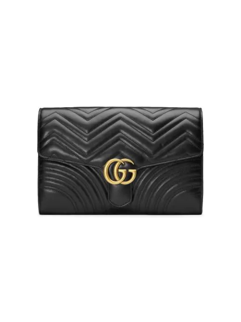 Gucci Gg Marmont Chevron Quilted Leather Flap Clutch Bag In Black