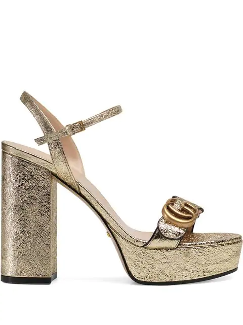 Gucci Marmont Metallic Block-Heel Platform Sandals In Gold