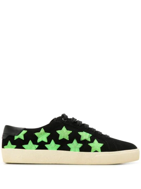 Saint Laurent Star Lace-Up Leather Sneakers In Black