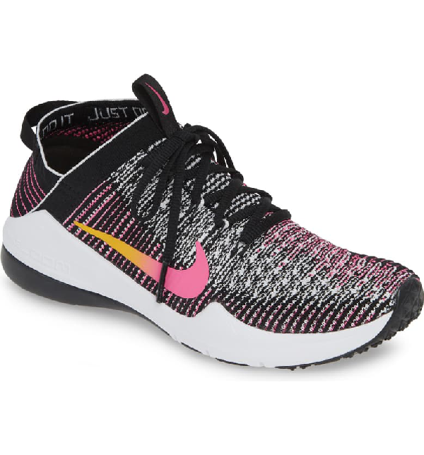 Women's Air Zoom Fearless Knit Low Top Sneakers in Black Gold Laser Fuchsia
