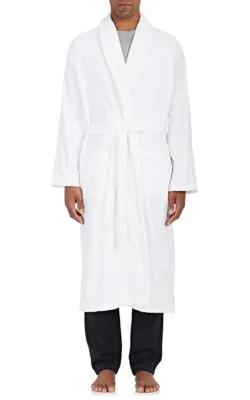 Derek Rose Triton Cotton French Terry Velour Robe In White