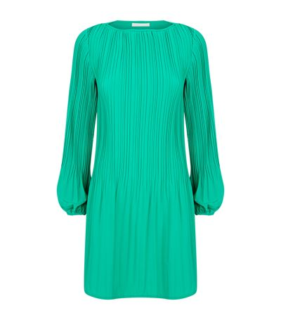 6db6c75f2b30 Maje Rockin Pleated Crepe Mini Dress In Vert | ModeSens