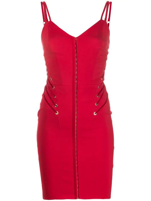 Murmur Lace-up Detail Fitted Dress In Red