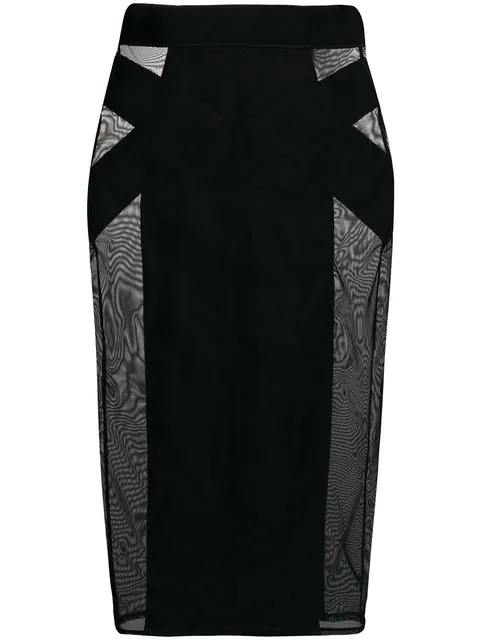 Murmur Sheer Pencil Skirt In Black