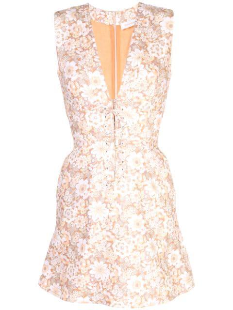 Zimmermann Floral Print Mini Dress In Brown