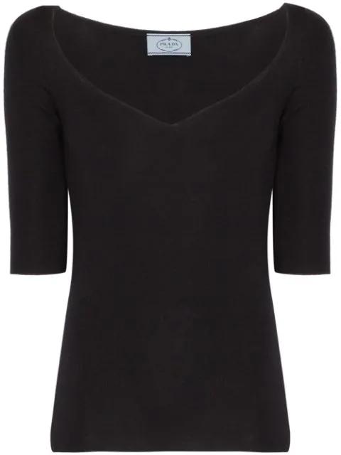 Prada Cashmere-Silk 1/2-Sleeve Sweetheart-Neck Top In Black