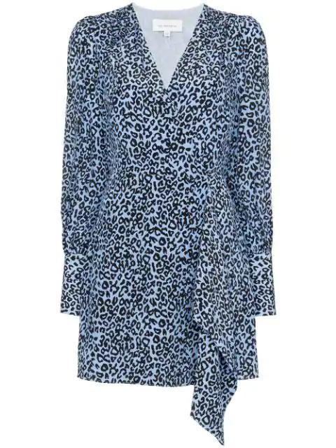 Les Rêveries Leopard-print Silk Mini Wrap Dress In Blue