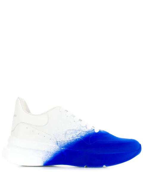 Alexander Mcqueen Men's Larry Degrade Spray Paint Platform Sneakers In 9846 Optic White Blue