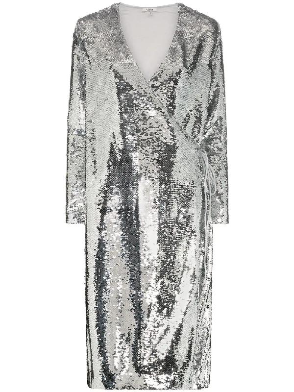 49037987 Ganni Sequins Wrap Dress In Silver | ModeSens