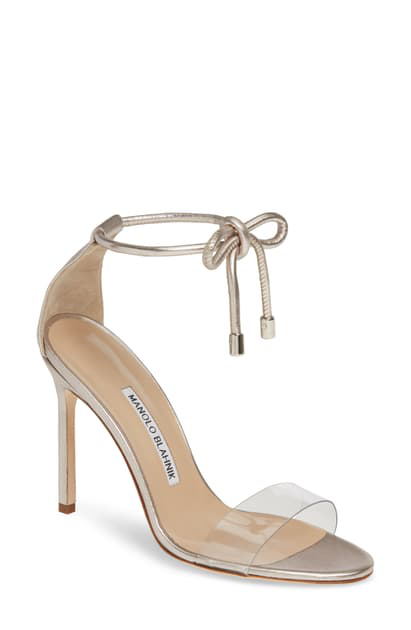 Manolo Blahnik Estro Leather & Pvc Ankle-Wrap Sandals, Silver In Nickel Leather