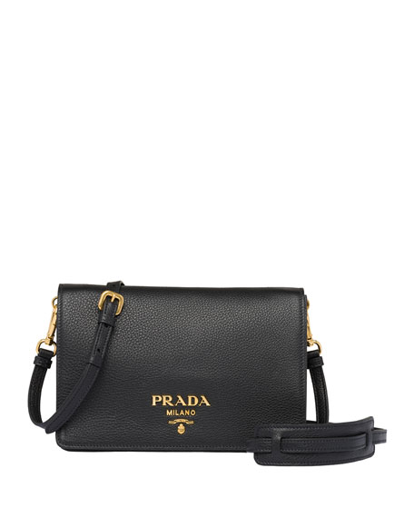 Prada Daino Leather Crossbody Bag In Black