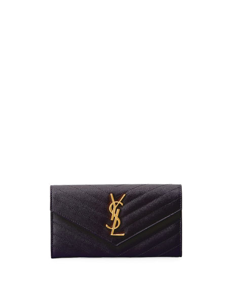 Saint Laurent Monogram Ysl Leather Large Flap Continental Wallet In Dark Gray