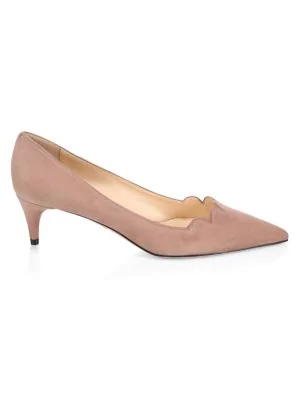 Prada Scalloped Suede Low-Heel Pumps In Pink