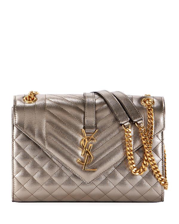 Saint Laurent Medium Ysl Monogram Metallic Shoulder Bag In