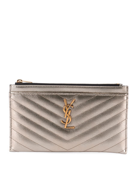 efdb3fc0f87 Saint Laurent Monogram Ysl Metallic Quilted Bill Pouch Wallet In Silver