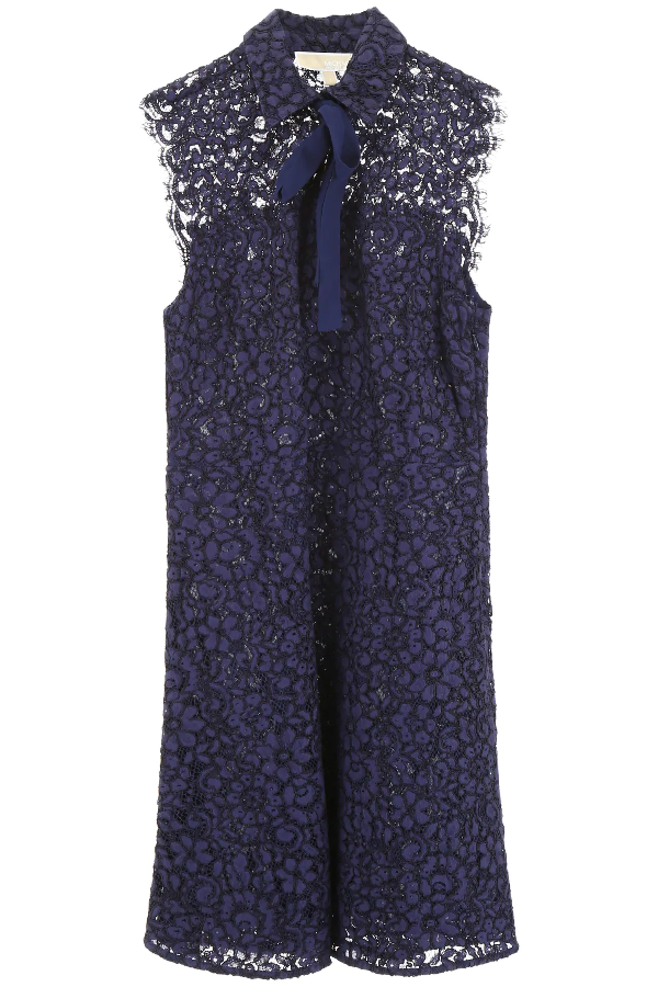 Michael Michael Kors Lace Dress With Bow In Blue