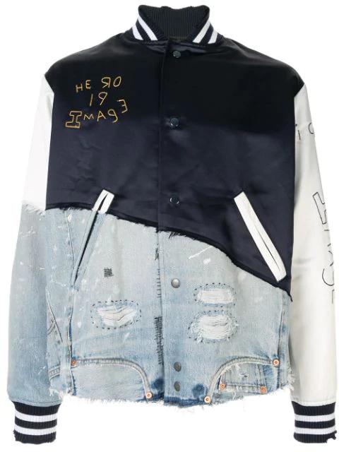 Greg Lauren Patchwork Bomber Jacket In Blue