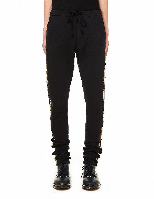 Greg Lauren Black Royal Cotton Track Pants
