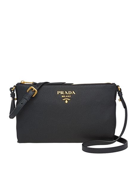 Prada Small Daino Crossbody Bag In Black