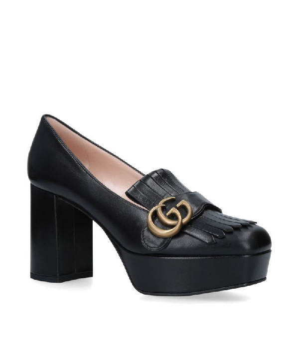 Gucci Marmont Platform Loafers 55 In Black