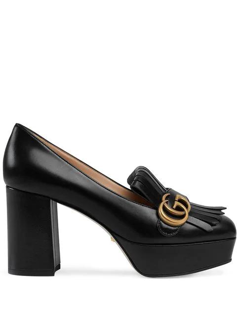 Gucci Marmont Kiltie Fringe Platform Pump In Black