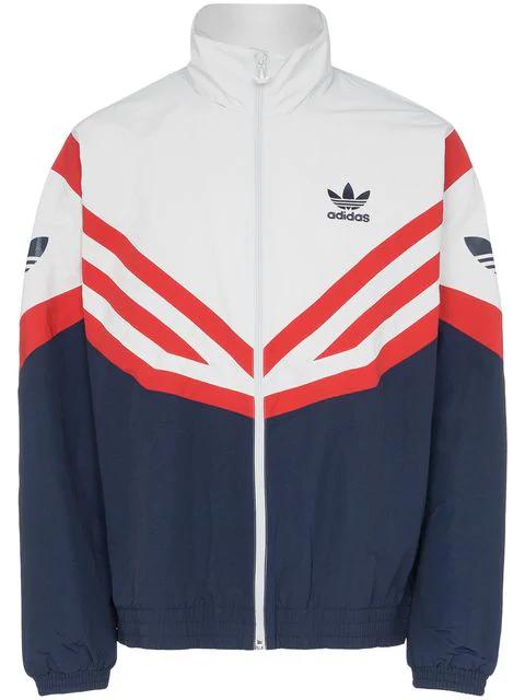 bester Großhändler echte Qualität am besten authentisch Adidas Sportjacke Mit Roten Streifen in Blue